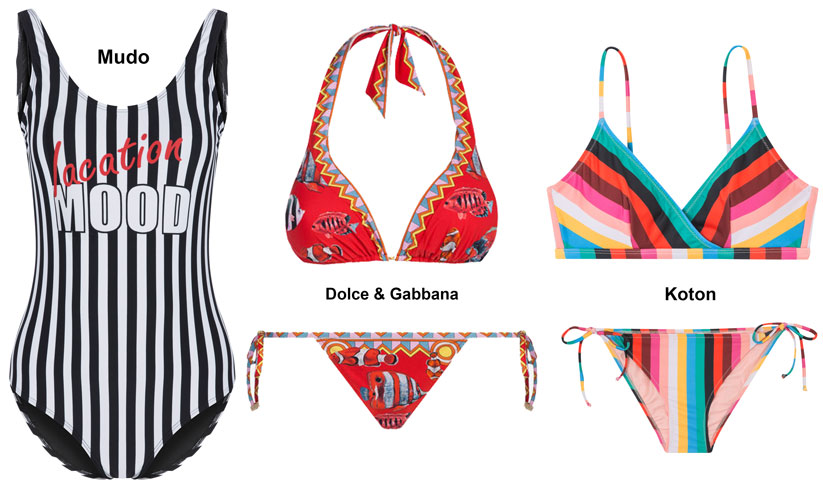 2018 Yaz plaj modasında baskılı, çizgili, puantiyeli modeller