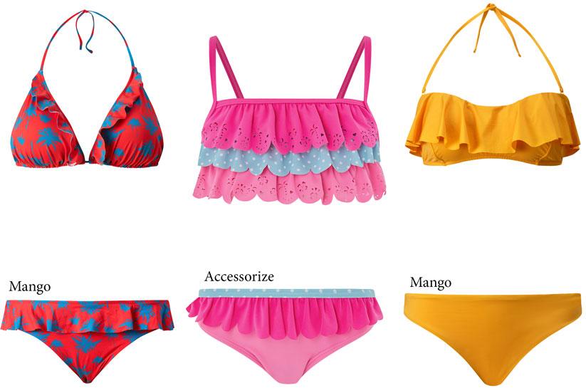 2018 Yaz plaj modasında fırfırlı bikiniler